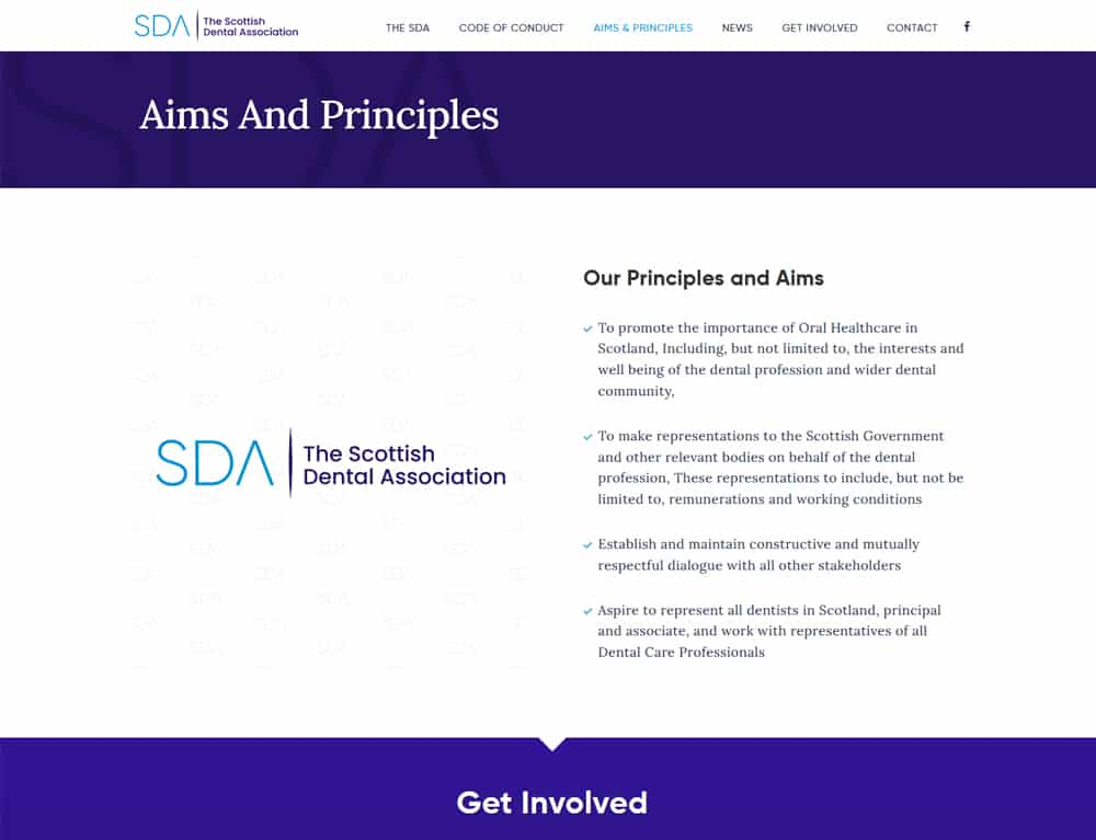 organisation website design for Scottish dental association website
