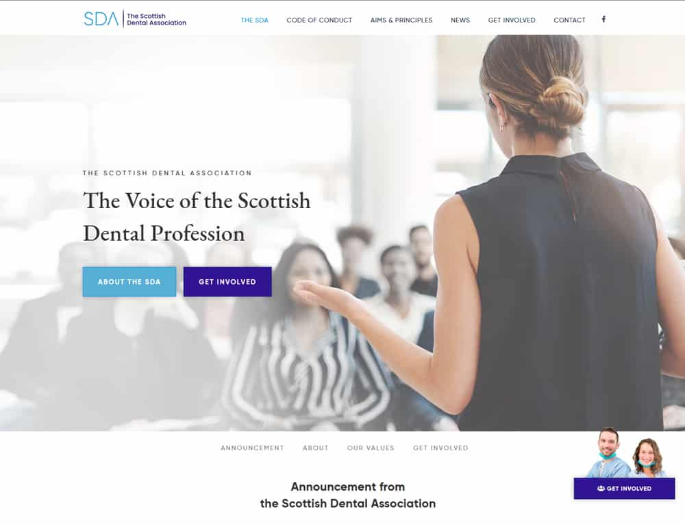landing page for scottish dental association website