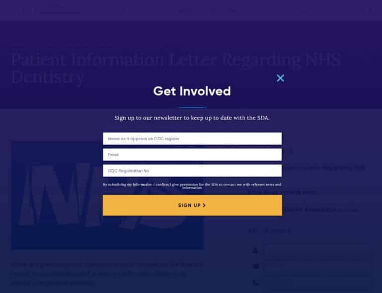 subscrive popup design for Scottish dental association website