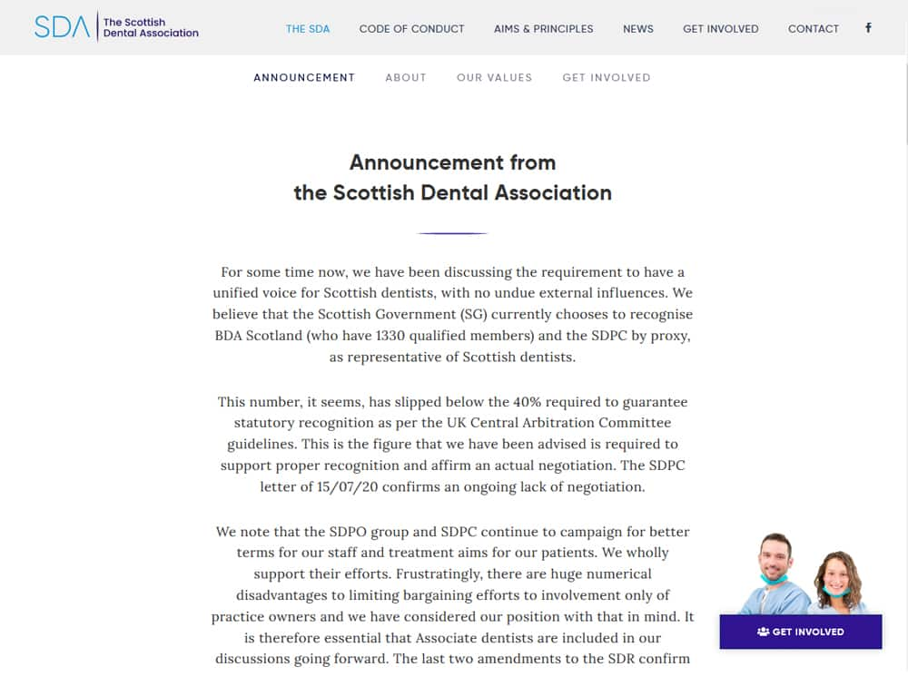 welcome page for scottish dental association website