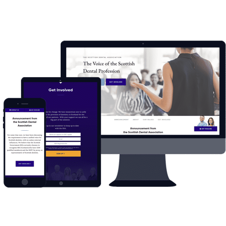 responsive website design for scottish dental association