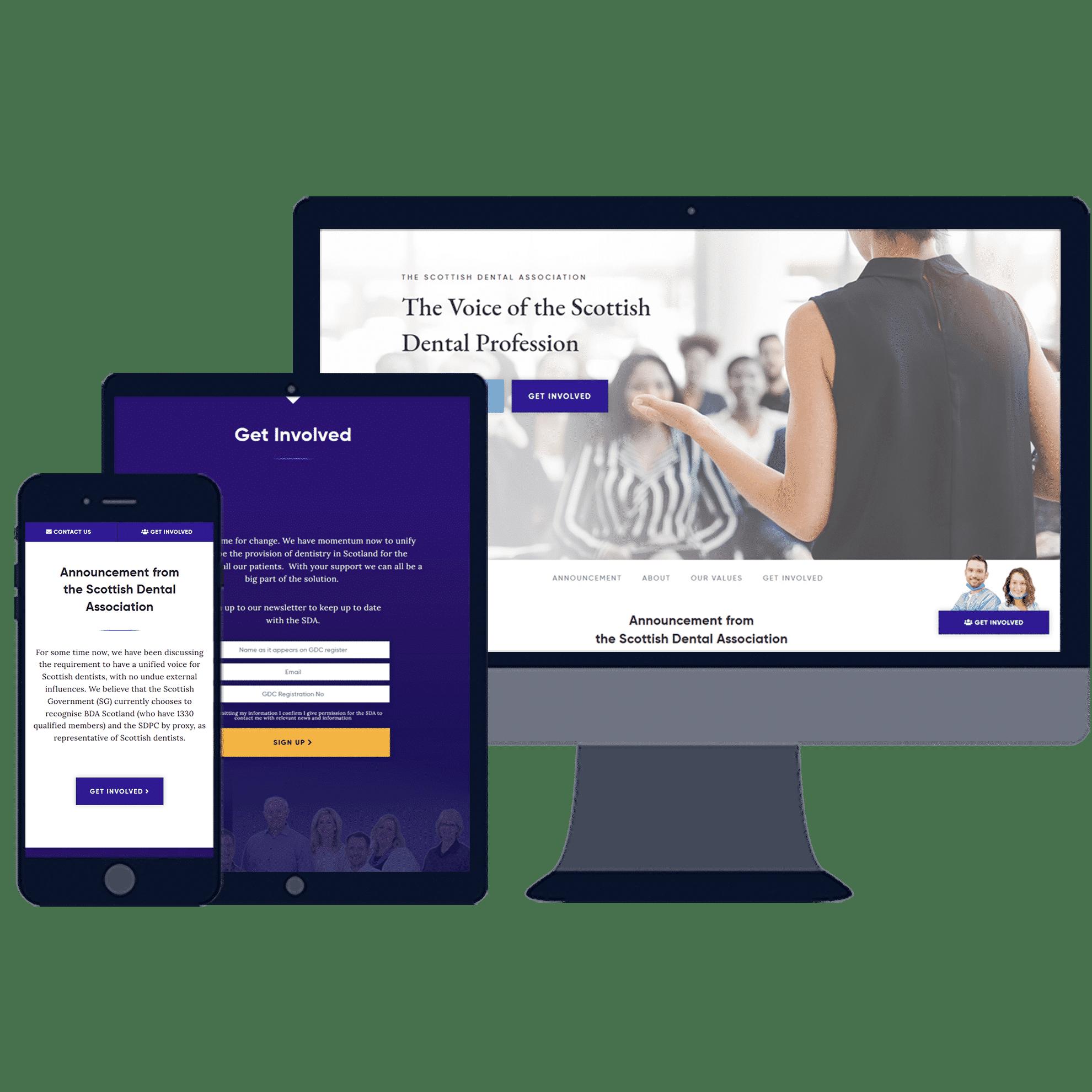 responsive website design for scottish dental association