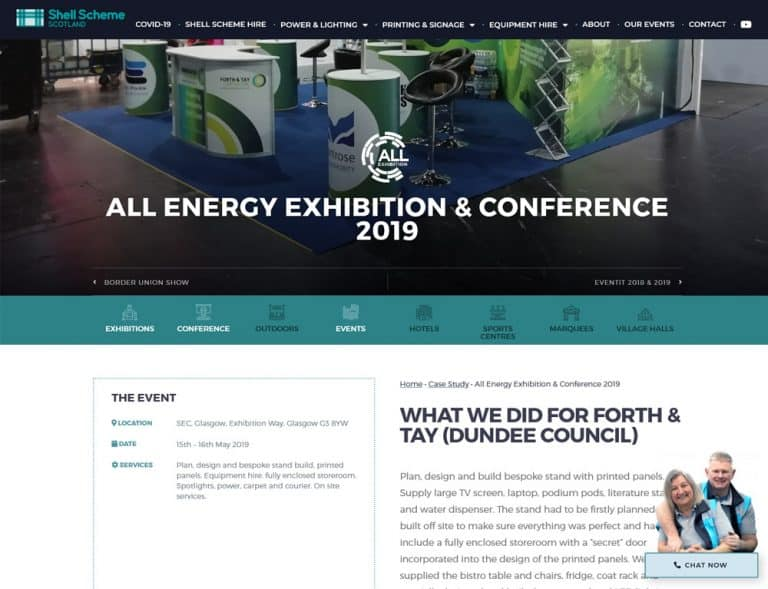 case study example for events business website