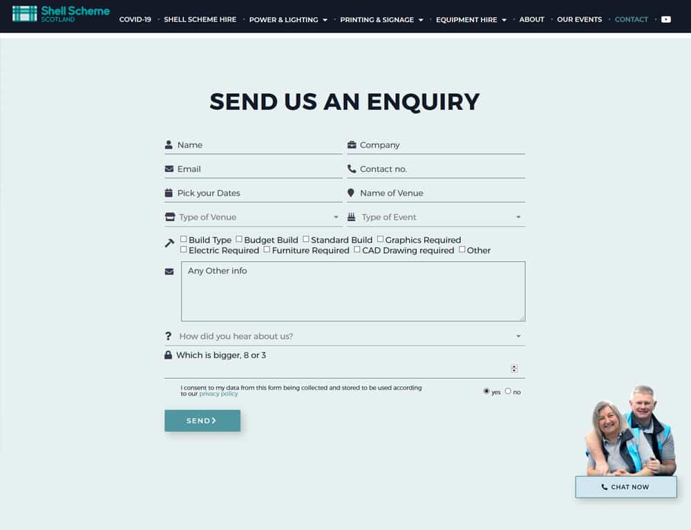 design of custom contact form for events business website