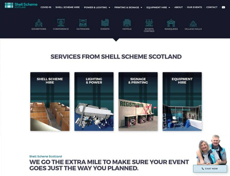 image gallery for events industry business website