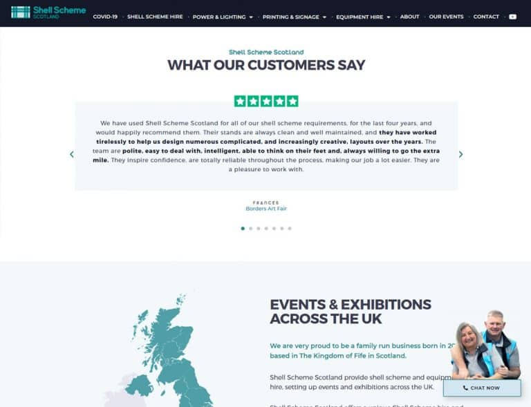 examples of testimonials on events business website design