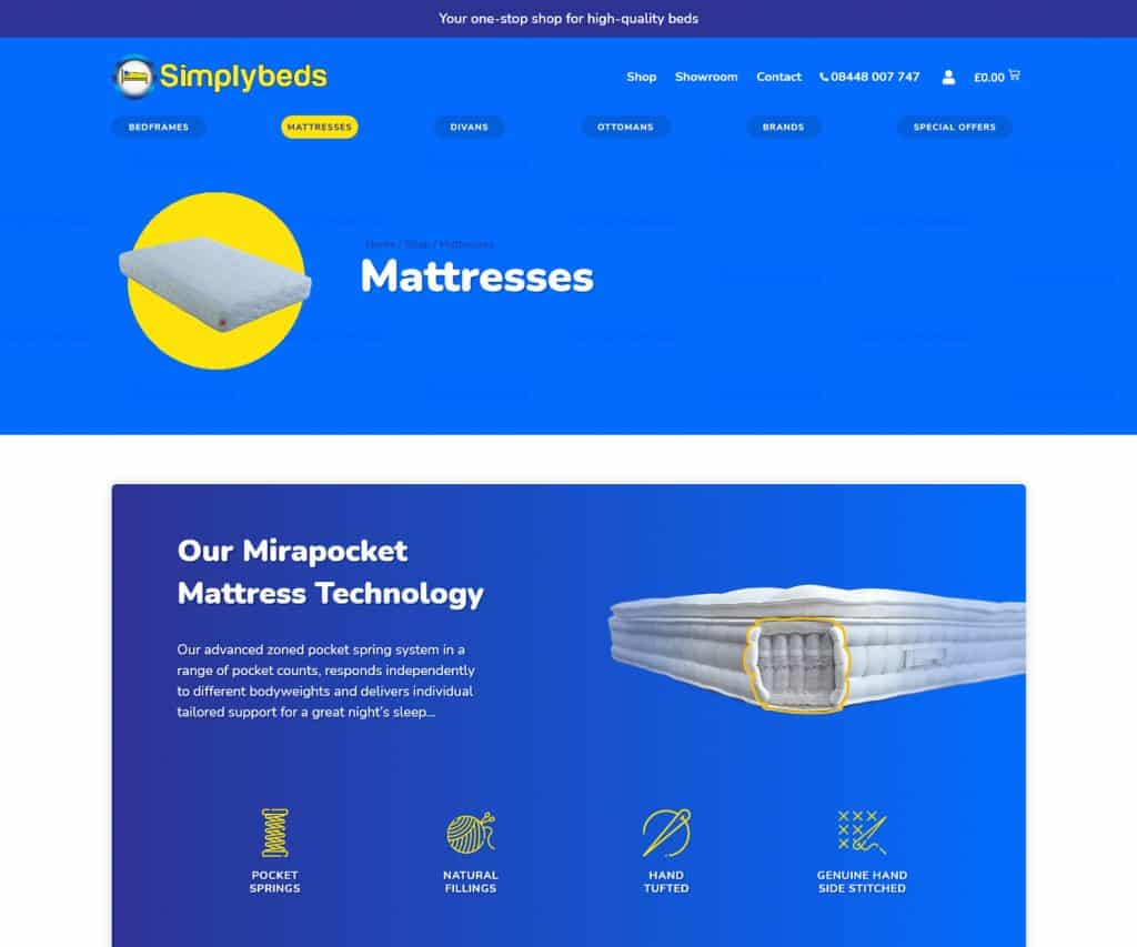 E-Commerce websites for bed showroom London