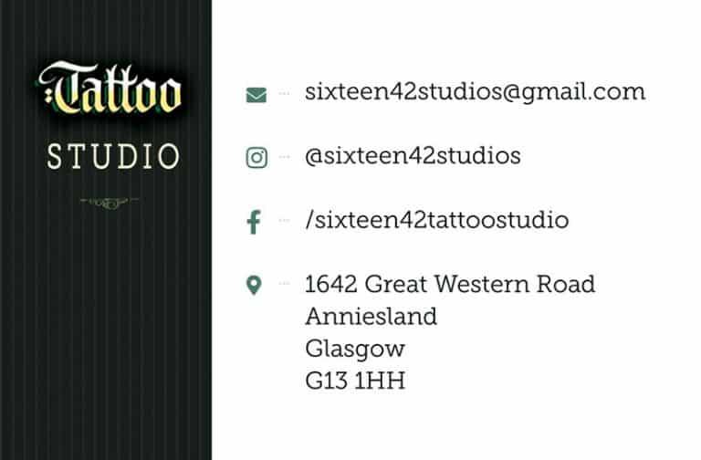 Business card design for tattoo studio