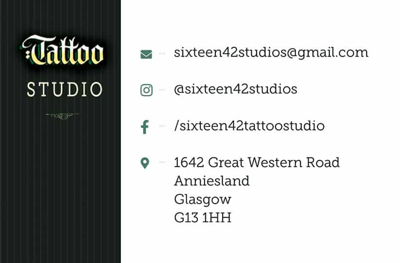 Business card design for tattoo studio