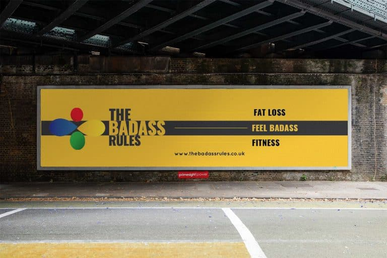 design of signage and advertising for the Badass Rules