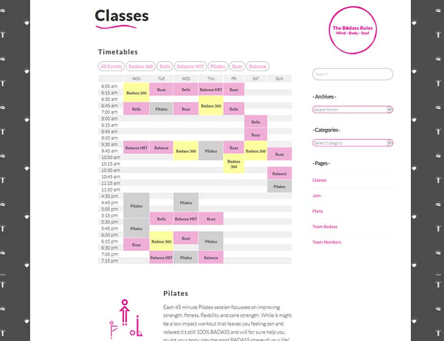 Development of calendar functionality for a website.
