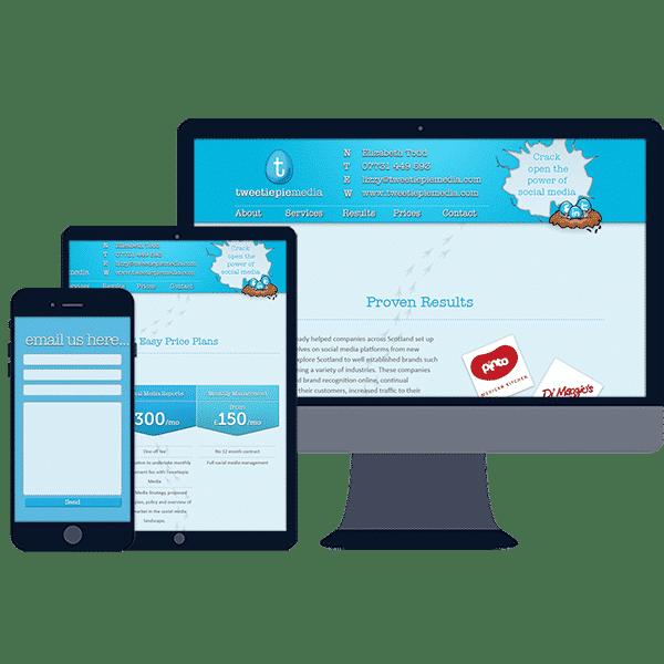 design of starter single page website design for new business
