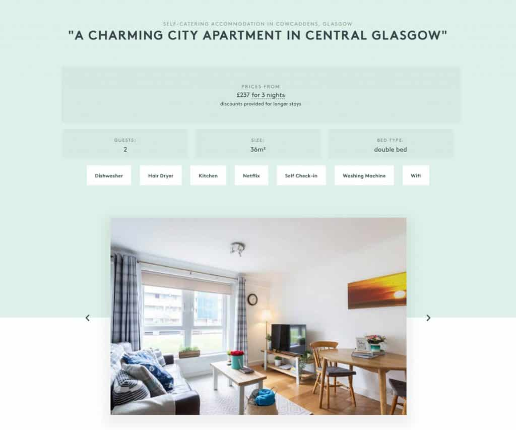 web design in Glasgow for self-catering accommodation