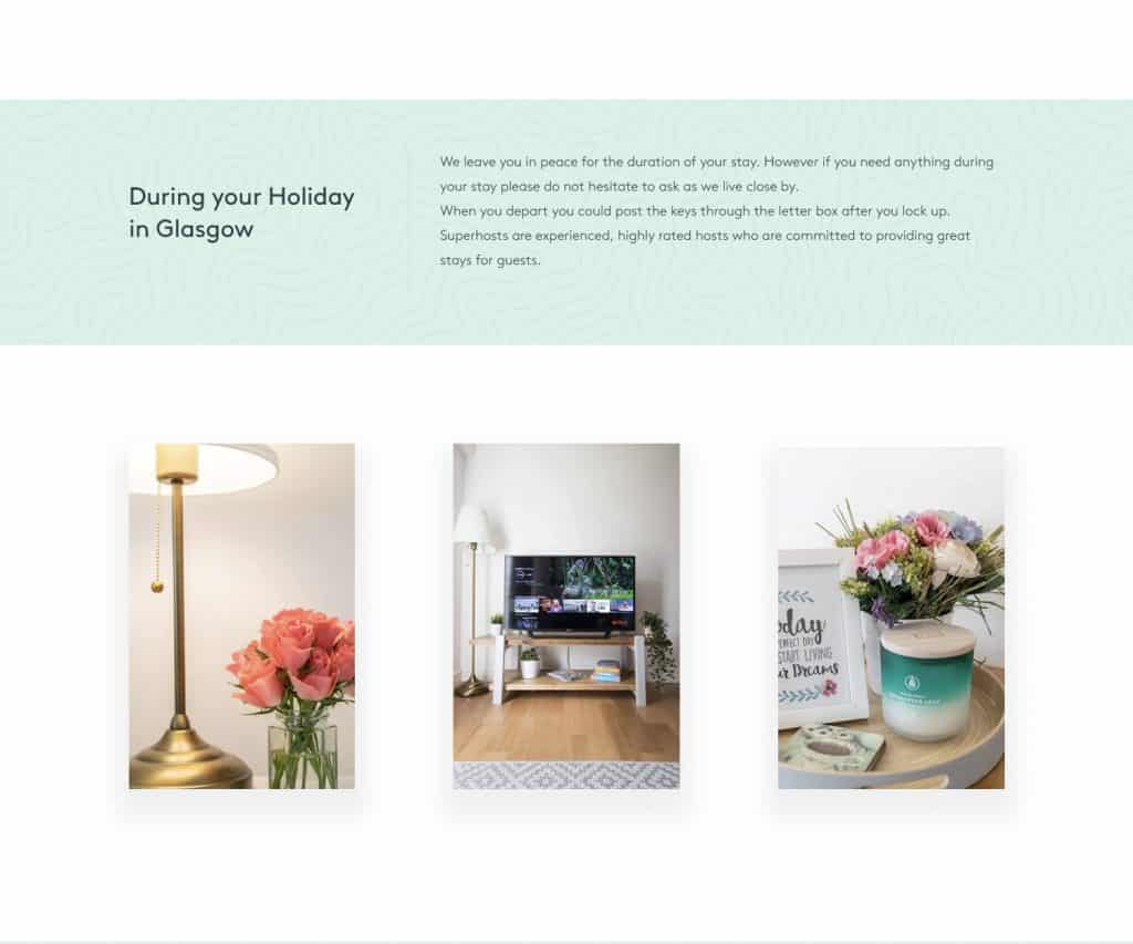 web design for holiday home in Glasgow