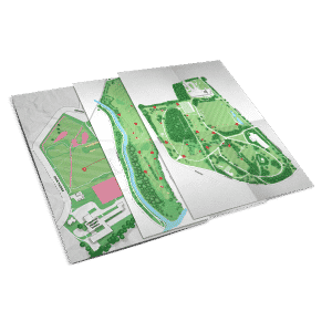 design of illustrated maps for glasgow disc golf