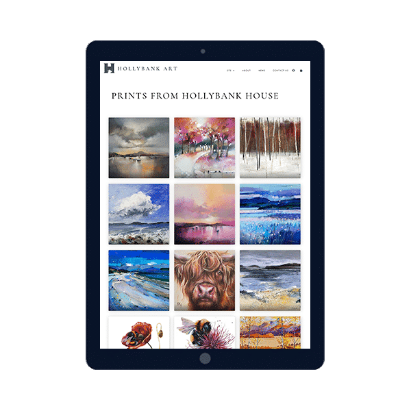 Design of gallery website on tablet device