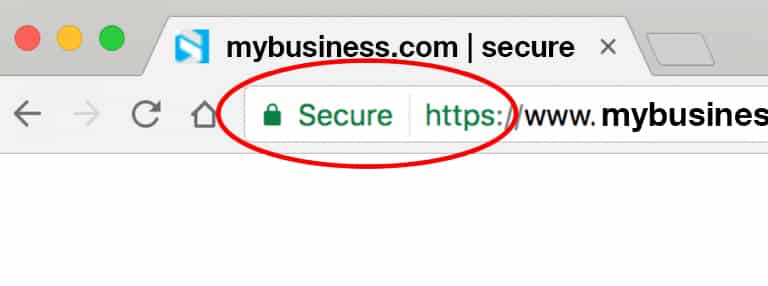 site secured with an SSL Certificate